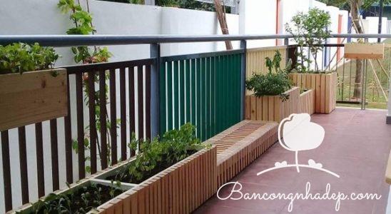 thiết kế ban công đẹp gỗ tự nhiên
