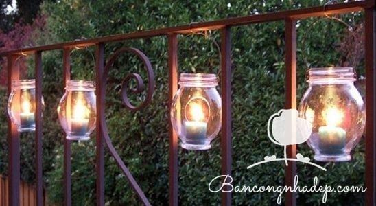 trang trí lan can bằng đèn