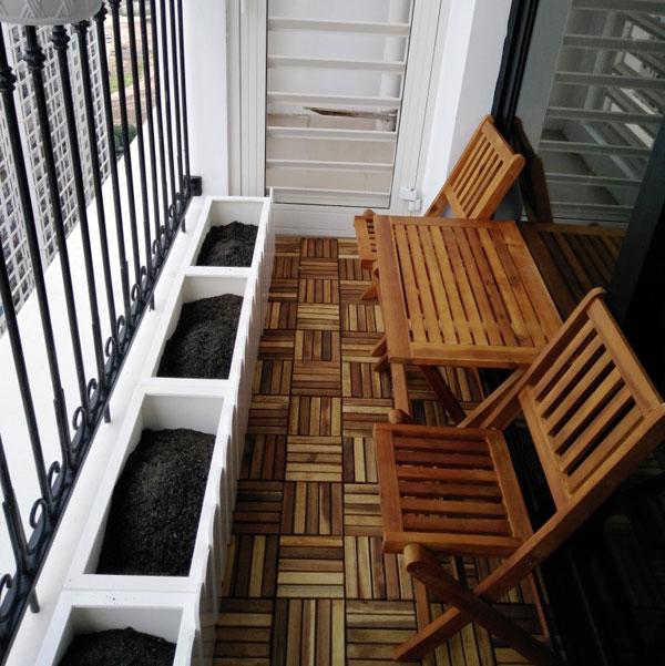 bàn ghế ban công hình chữ nhật