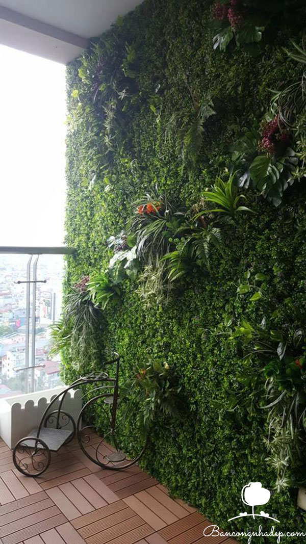 tường cây nhân tạo ban công