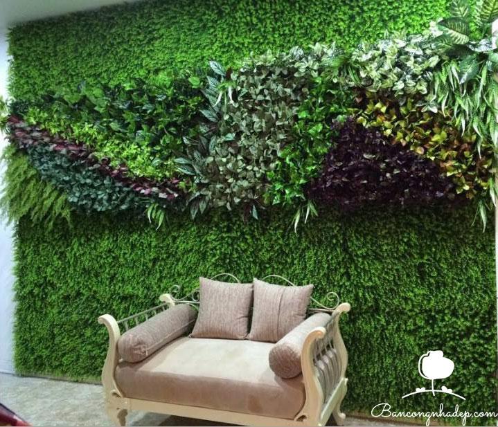 tường cỏ giả trang trí phòng khách