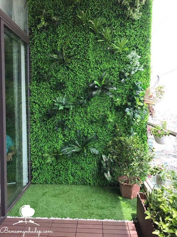 tường cây nhân tạo xanh