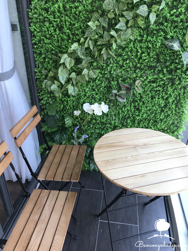 bàn ghế ban công màu mộc