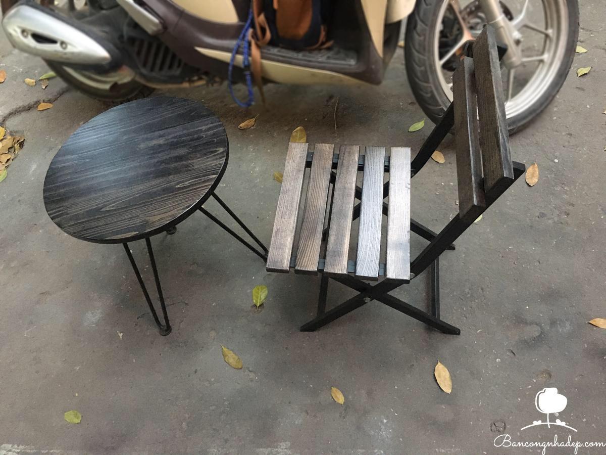 bàn ghế ban công sồi sám